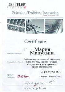 Сертификат Манухина 2016